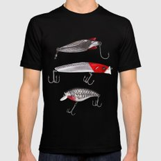 Red and Silver Fishing Lures Mens Fitted Tee Black MEDIUM