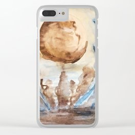 Moonlight Lake watercolor painting Clear iPhone Case