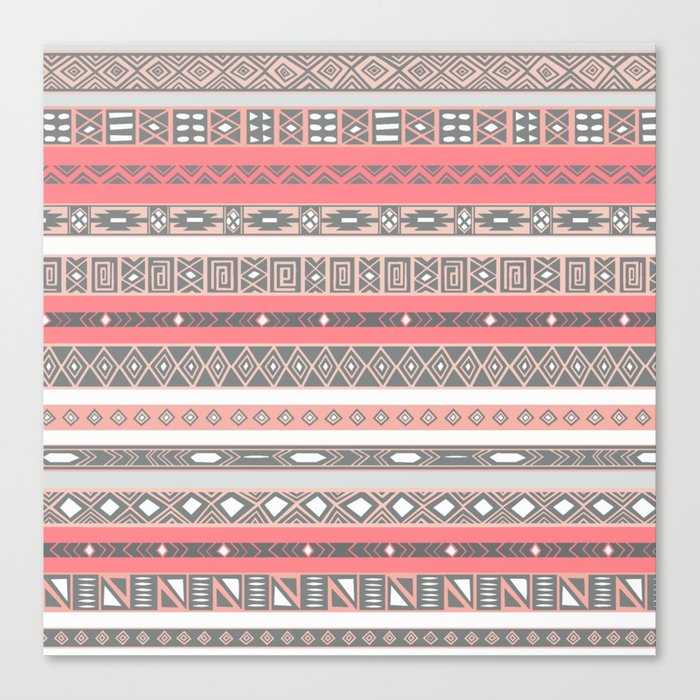 Aztec Print Peach Rose Salmon Grey Canvas