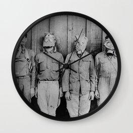 American, British, French, & German Gas Masks Wall Clock