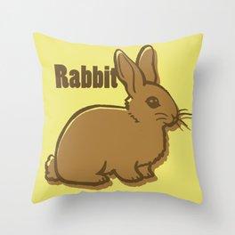 Animal Alphabet - Rabbit Throw Pillow