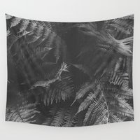 fern Wall Tapestries featuring Colorless Fern by Tina Crespo