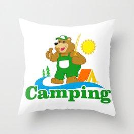 Cartoon Brown Bear camping Throw Pillow