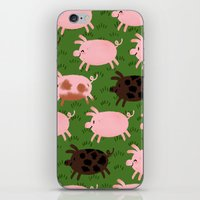 pigs iPhone & iPod Skins featuring Pigs by Paper Bicycle