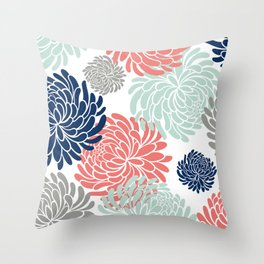Floral, Chrysanthemums, Coral, Pink, Aqua, Navy, Blue Throw Pillow