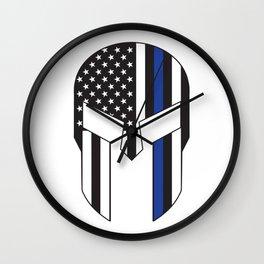 Gladiator Helmet American Flag Thin Blue Line Wall Clock