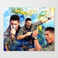 winchester Canvas Prints featuring Dean Winchester  by Katerina Gold