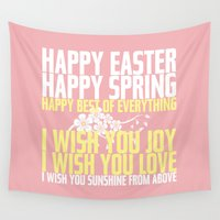 poem Wall Tapestries featuring Happy Easter, Happy Spring | Poem Artwork | Dusty Pink, White, Yellow by Jaydot Creative