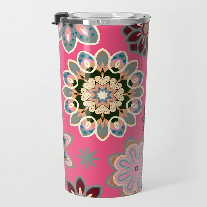 Flower retro pattern in vector. Blue gray flowers on pink background. Travel Mug