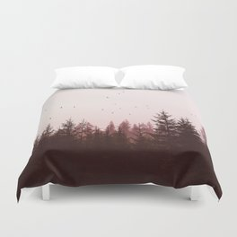 Pinky Sunset Forest Duvet Cover