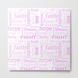 Breast Cancer - White and Pink Metal Print