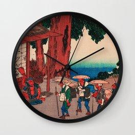Travelers at Minakuchi station Japan Wall Clock