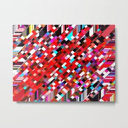 geometric square pixel pattern abstract background in red blue pink Metal Print