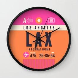 Baggage Tag A - LAX Los Angeles Wall Clock