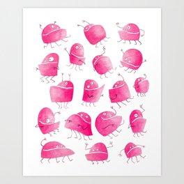 Pink Underbite Monsters Art Print