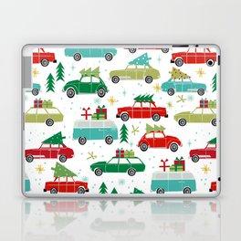 Christmas holiday vintage cars classic festive christmas tree snowflakes winter season Laptop & iPad Skin