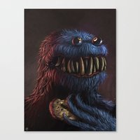 cookie monster Canvas Prints featuring Cookie Monster by Adrián Retana