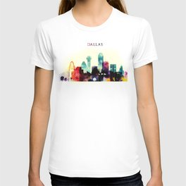 Dallas Texas City Skyline watercolor poster T-shirt