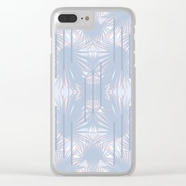 Tropical Art Deco Pattern - Pastel blue and pink Clear iPhone Case