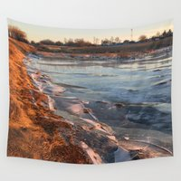 cracked Wall Tapestries featuring Cracked ice. by Mikhail Zhirnov