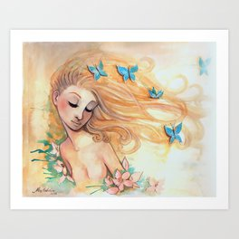The Lady with the Butterflies Art Print