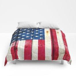 Vintage American Flag On Old Barn Wood Comforters