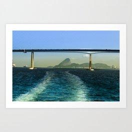 Rio de Janeiro ao fundo sobre a ponte Rio Niteroi Art Print