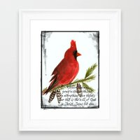 scripture Framed Art Prints featuring Cardinal with Scripture  by Melanie Dorsey Designs