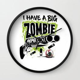 Zombie Repellent Halloween Funny Gun Art Light Wall Clock