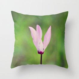 Pink Cyclamen Throw Pillow