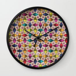 Colorful Kaleidoscopic Abstract Flower Pattern Wall Clock