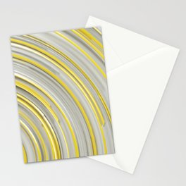 Glowing yellow concentric spirals on white Stationery Cards