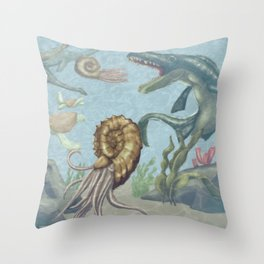 prehistoric ocean Throw Pillow