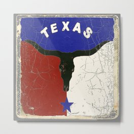 Texas State Flag Longhorn Antique Style Pattern Art Metal Print