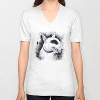 bull terrier V-neck T-shirts featuring Bull Terrier by kitara