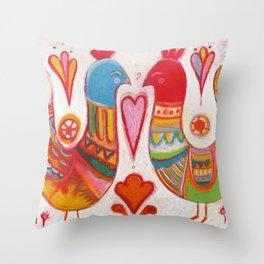 Folk Love Birds Throw Pillow