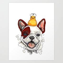 Friendship, Happy Frenchie, Little Ducky Art Print
