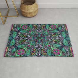 no. 304 green pink orange blue with black and white Rug