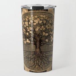 Tree of life - Yggdrasil - Wood and Gold Travel Mug
