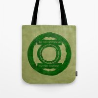lord of the ring Tote Bags featuring One Green Ring by Oddesign