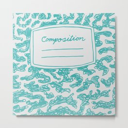 Composition Book Teal  Metal Print