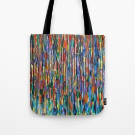 Bright Colorful Abstract Art with Red, Blue, Green, Purple, Yellow, Multicolor Striped Lines Tote Bag