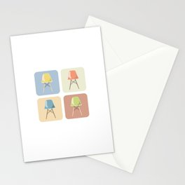 Eames Chairs in Squares Stationery Cards