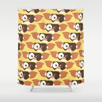 gizmo Shower Curtains featuring gizmo by elvia montemayor