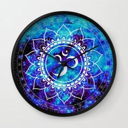 Om Mandala : Bright Violet & Teal Wall Clock