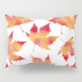 Maple leaves white Pillow Sham