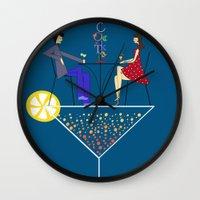 cocktail Wall Clocks featuring Cocktail by Aleksandra Mikolajczak