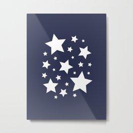 Stars - Navy Blue Metal Print
