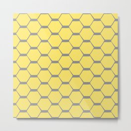 Grey and Yellow Hexagons Metal Print