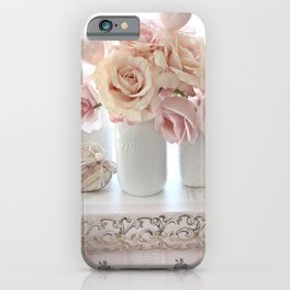Shabby Chic Peach Pink White Pastel Roses White Vases iPhone Case